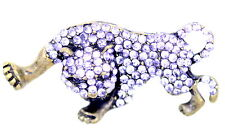 Vintage Art Deco retro style bronze and crystal leopard brooch bag pin
