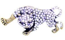 Vintage Art Déco retro estilo bronce y cristal leopardo broche para bolsa