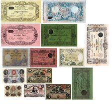 ITALIA BANCA NAZIONALE NEL REGNO D'ITALIA 14 Banconote(Riproduzione/copy)