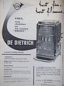 PUBLICITÉ DE PRESSE 1960 POËLE DE DIETRICH FEU CONTINU PRINCE - ADVERTISING
