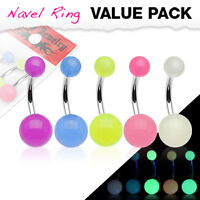 5 Pc Glow in the Dark Ball Surgical Steel Navel Belly Button Rings