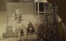 "Vintage Photo Creepy Scary Paper Bag Halloween Mask Jacko  1920's 8""x10"""
