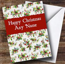 Vintage Holly Carte de voeux de Noël Personnalisé