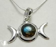 Labradorite Triple Moon necklace with Hidden Pentagram pagan wiccan jewellery
