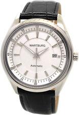 Wartburg Automatic Herrenuhr Stahl Lederband Datum weiß schwarz Miyota 9015 43mm