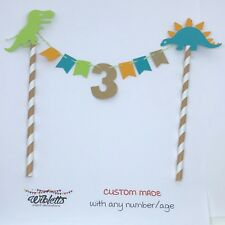 CUSTOM ANY AGE BIRTHDAY PARTY CAKE TOPPER BUNTING DINOSAUR DINO THEME TEAL GREEN