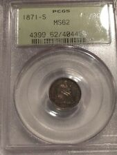 1871 S HALF DIME PCGS MS62 OLD GREEN HOLDER OGH CERTIFIED SILVER 5C MS 62 1871S
