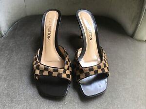 "100% Auth Louis Vuitton Damier women's heel shoes size 39 with 3"" heel"