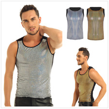Sexy Men Sequin Slim Fitted Clubwear Muscle Vest Shirt Sport Tank Top Undershirt
