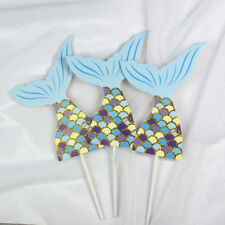 3pcs mermaid tail party cake topper birthday decor diy cupcake topper suppliesEP