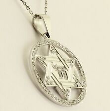 14K White Gold Star of David with Chai Symbol and Diamonds