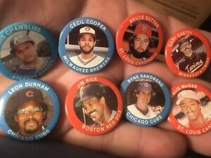 MLB 1984 Fun Foods Pin Lot Of 10 Includes HOF All Stars Sandberg Sutter Rice