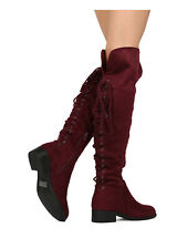 New Women Refresh Miles-02 Faux Suede Over The Knee Back Lace Riding Boot