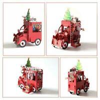 Christmas Car 3D Greeting Cards Wedding Birthday Holiday Postcard Xma L6A6 G4L6