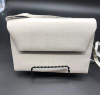 Vintage Nordstrom Raw Silk Silver Grey Clutch Evening Bag Shoulder Strap