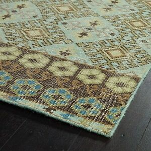 NEW KALEEN RELIC 2' X 3' TURQUOISE HAND KNOTTED WOOL RUG RLC04-78-23