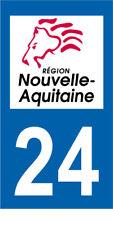 Département 24 MOTO 1 autocollant style plaque moto 3 x 6 cm AQUITAINE NOUVELLE