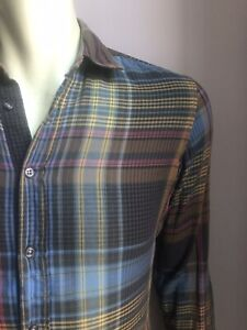 Hugo Boss Orange Shirt, Ashland Plaid, Small, Excellent Condition
