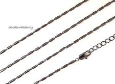 36 Inch Long Gunmetal Tube & Oval Link Chain Necklace Extender Lobster Clasp