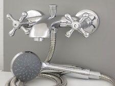 Badewannenarmatur Nostalgie Zweigriffmischer Handbrause Metallschlauch Armatur