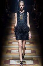 =SUPER CHIC= LANVIN Runway Black Fringe Ostrich Feather Silk Women's Dress US6