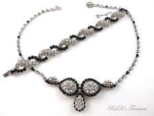 Vintage CHRISTIAN DIOR BY KRAMER Black Clear Rhinestone Necklace & Bracelet SET