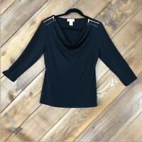 Carmen Marc Valvo Black Top With Gold Zipper And Rivets Size Large