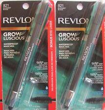 Revlon Grow Luscious WATERPROOF Mascara #821 BLACKEST BLACK Bonus Eyeliner x 2