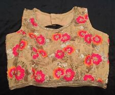 "36"" 38"" S Floral Saree Blouse Indian Bollywood Sari Choli Beige Pink Orange Y8"