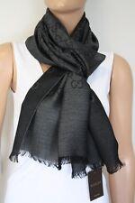 Gucci bufanda GG patrón 45x180 cm lana/seda antracita nuevo 165904