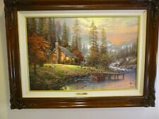 """Thomas Kinkade, """"A Peaceful Retreat� 18'"""" X 27"""" Mint Canvas signed and Numbered"""