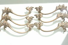 """6 old look french style pulls handles pair heavy brass vintage style doors 8""""B"""