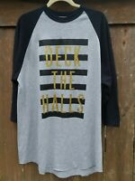 Deck The Halls Raglan T-shirt Soffe XL 3/4 Sleeves Sparkle Gold Black Gray NWOT