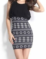 Black & Grey & White Aztec Skirt Mini Dress size 12