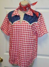 WESTERN BOYS/MENS CHECKERED RED WHITE  DANCE COUNTRY COWBOY SHIRT & necktie