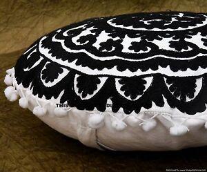 Black & White Round Indian Suzani Embroidered Boho Throw Pillow Cushion Cover