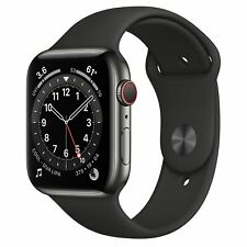 *SALE* Apple Watch Series 6 44mm Graphite Stainless Steel Black Sport Band R
