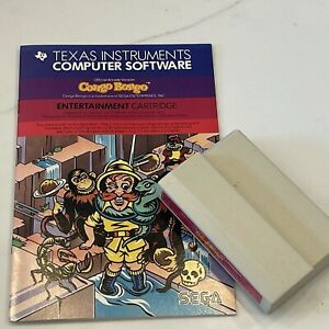 Congo Bongo Game Cartridge & Book Texas Instruments TI-99/4A Untested