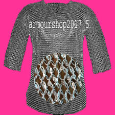Chain mail 9 mm round riveted hubergion half sleeve Shirt Extra Large size shirt
