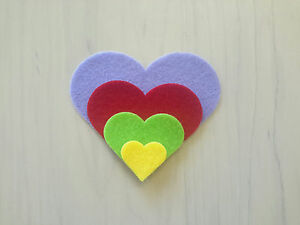 IRON ON Felt Hearts - 4 sizes -  over 20 colours to choose from