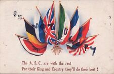WW1 Military Art Patriotic Allied Flags Army Service Corps A G Chard Grove Park