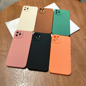 For iPhone 13 12 11 Pro Max X XR 8 7 Matte Silicone Soft Case Lens Protect Cover