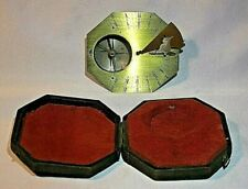 Antique French Octagonal Brass Cased Pocket Sundial, circa 18th Century