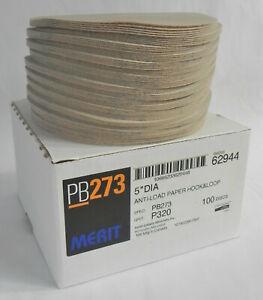 "Box 100 ""Merit PB273"" AO Sanding Discs, 5"" 320 Grit, Anti-Load Paper, Hook&Loop"