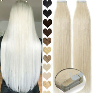 Brazilian 100G Tape In Thick-Glue Human Hair Extensions Remy Skin Weft Full Head