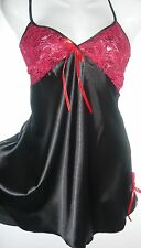 NEW sexy Ladies Red & Black  Lingerie Nightdress Size 10 Made in UK