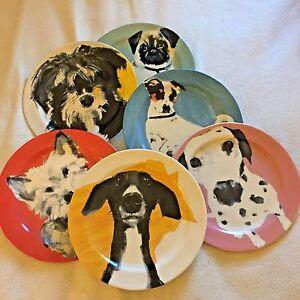 Anthropologie Dog Art Plate ONE Lab Westie Labrador Dachshund Shaggy a Day