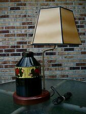 Vintage Hand Painted Metal Tin Can Tole Table Lamp Absolute Gorgeous