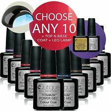 QUTIQUE Gel Nail Polish Colour Kit/Set inc LED Lamp -ANY 10 Colours-Professional