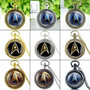 Vintage Star Trek Antique Pocket Watch Pendant Quartz Necklace Chain Gift Men